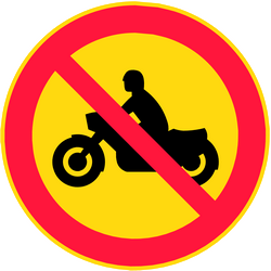 Traffic sign of Finland: Motorcycles prohibited