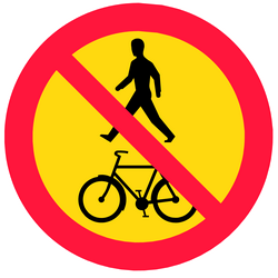 Traffic sign of Finland: Pedestrians and cyclists prohibited