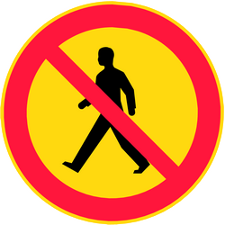 Traffic sign of Finland: Pedestrians prohibited