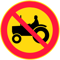 Traffic sign of Finland: Tractors prohibited