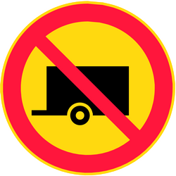Traffic sign of Finland: Trailers prohibited