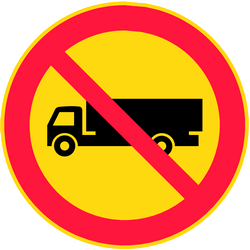 Traffic sign of Finland: Trucks prohibited