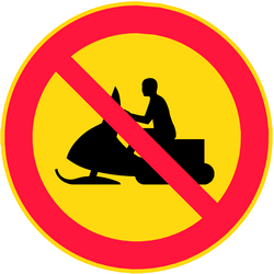 Traffic sign of Finland: Snowmobiles prohibited