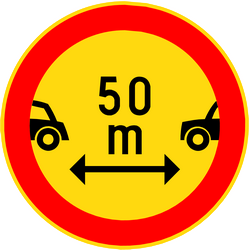 Traffic sign of Finland: Leaving less distance than indicated prohibited