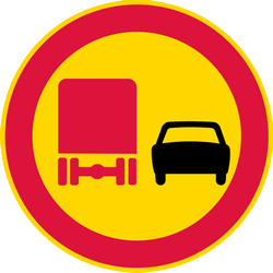 Traffic sign of Finland: Overtaking prohibited for trucks