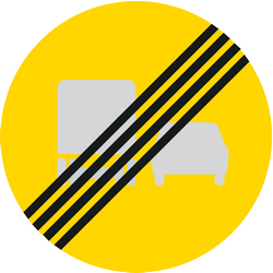 Traffic sign of Finland: End of the overtaking prohibition for trucks