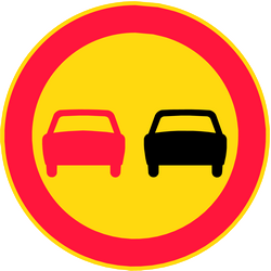 Traffic sign of Finland: Overtaking prohibited