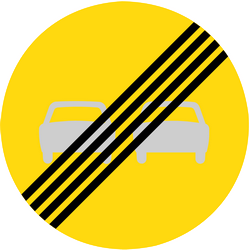 Traffic sign of Finland: End of the overtaking prohibition