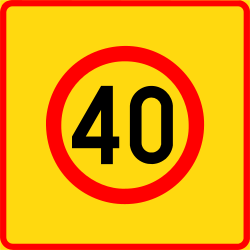 Traffic sign of Finland: Begin of a zone with speed limit