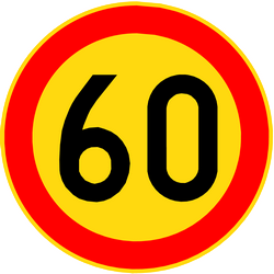 Traffic sign of Finland: Begin of a speed limit