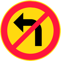Traffic sign of Finland: Turning left prohibited