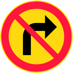 Traffic sign of Finland: Turning right prohibited