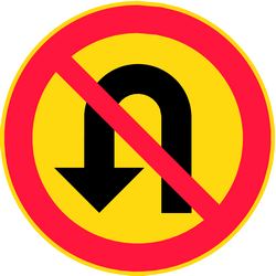 Traffic sign of Finland: <b>Turning</b> around prohibited (<a href='/en/finland/overview/u-turn'>U-turn</a>)