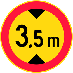 Traffic sign of Finland: Vehicles higher than indicated prohibited
