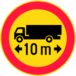 Traffic sign of Finland: Vehicles longer than indicated prohibited