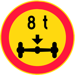 Traffic sign of Finland: Vehicles with an axle weight heavier than indicated prohibited