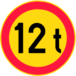 Traffic sign of Finland: Vehicles heavier than indicated prohibited
