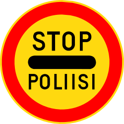 Traffic sign of Finland: Entry prohibited (checkpoint)
