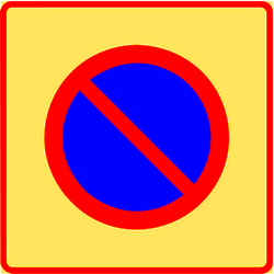 Traffic sign of Finland: Begin of zone where parking is prohibited