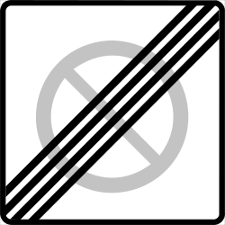 Traffic sign of Finland: End of the zone where parking is prohibited
