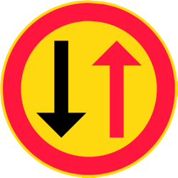 Traffic sign of Finland: Road narrowing, give way to oncoming drivers