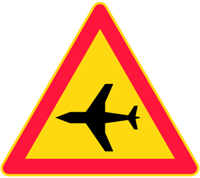 Traffic sign of Finland: Warning for low-flying aircrafts