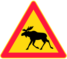 Traffic sign of Finland: Warning for moose on the road
