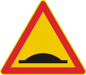 Traffic sign of Finland: Warning for a speed bump