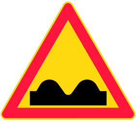 Traffic sign of Finland: Warning for a bad road surface