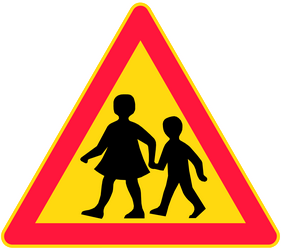 Traffic sign of Finland: Warning for children