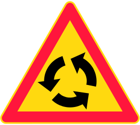 Traffic sign of Finland: Warning for a roundabout