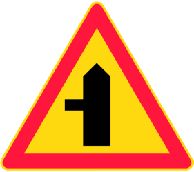 Traffic sign of Finland: Warning for a crossroad with a side road on the left