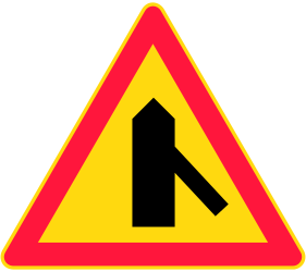 Traffic sign of Finland: Warning for a crossroad with a sharp side road on the right