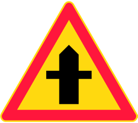 Traffic sign of Finland: Warning for a crossroad side roads on the left and right