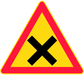 Traffic sign of Finland: Warning for an uncontrolled crossroad