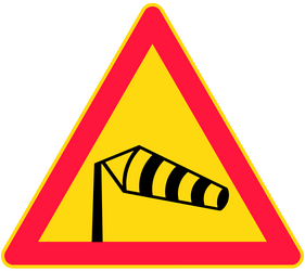Traffic sign of Finland: Warning for heavy crosswind