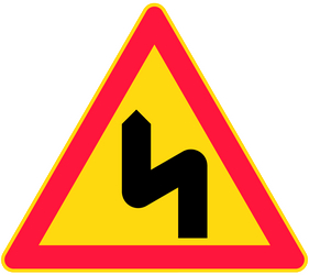 Traffic sign of Finland: Warning for a double curve, first left then right