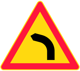 Traffic sign of Finland: Warning for a curve to the left