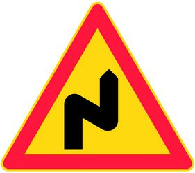 Traffic sign of Finland: Warning for a double curve, first right then left