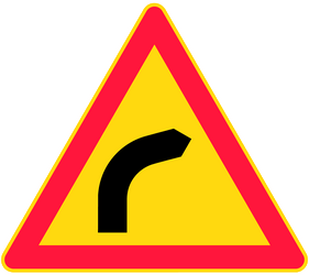 Traffic sign of Finland: Warning for a curve to the right