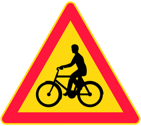 Traffic sign of Finland: Warning for cyclists