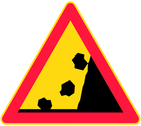 Traffic sign of Finland: Warning for falling rocks