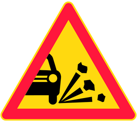 Traffic sign of Finland: Warning for loose chippings on the road surface