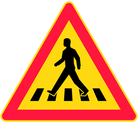 Traffic sign of Finland: Warning for a crossing for pedestrians