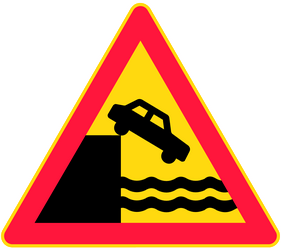 Traffic sign of Finland: Warning for a quayside or riverbank