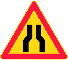 Traffic sign of Finland: Warning for a road narrowing