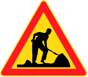 Traffic sign of Finland: Warning for roadworks