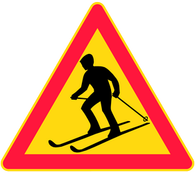 Traffic sign of Finland: Warning for skiers