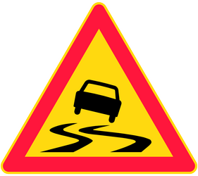 Traffic sign of Finland: Warning for a slippery road surface