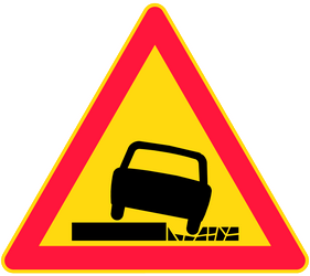 Traffic sign of Finland: Warning for a soft verge